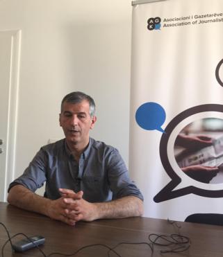 Petrit Collaku, in his office in Pristina. Photo: Marisa López
